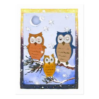 Tarjeta de los búhos del copo de nieve postal