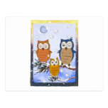 Tarjeta de los búhos del copo de nieve tarjetas postales