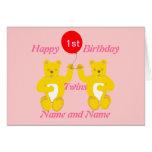Tarjeta de los chicas del cumpleaños de los gemelo