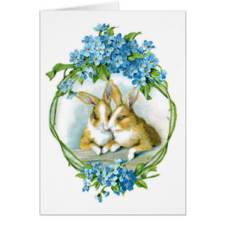 Tarjeta de los conejos de Pascua del vintage
