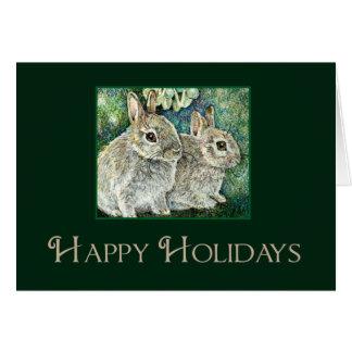Tarjeta de los conejos del bebé del navidad