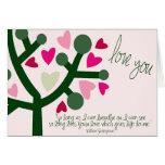 Tarjeta de los corazones del amor de la tarjeta de