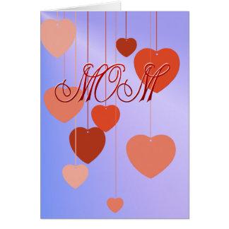 Tarjeta de los corazones del día de madres