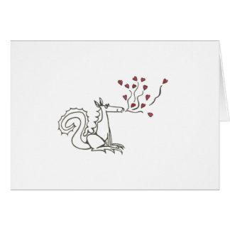 Tarjeta de los corazones del dragón que sopla