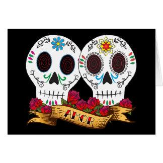 Tarjeta de los cráneos del amor