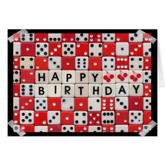 Tarjeta de los dados del feliz cumpleaños
