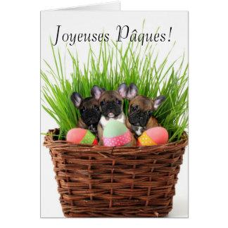 Tarjeta de los dogos franceses de Joyeuses Pâques
