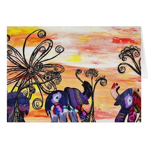 Tarjeta de los elefantes indios