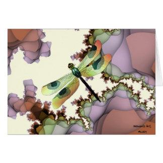 Tarjeta de los fractales de la libélula (terrosa)