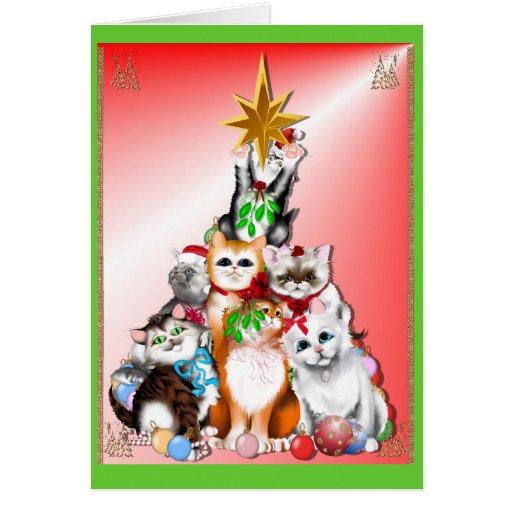 Tarjeta de los gatitos del árbol de navidad