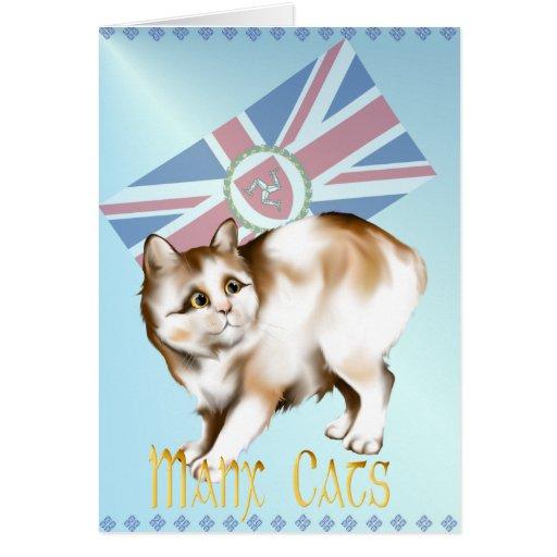 Tarjeta de los gatos de la Isla de Man