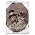 Tarjeta de los gatos del amor del vintage