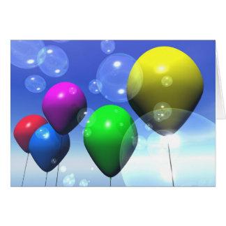 Tarjeta de los globos y de burbujas del fiesta