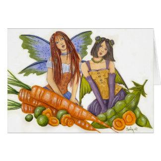 Tarjeta de los guisantes y de las zanahorias