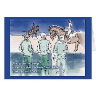 Tarjeta de los instructores del Dressage tres