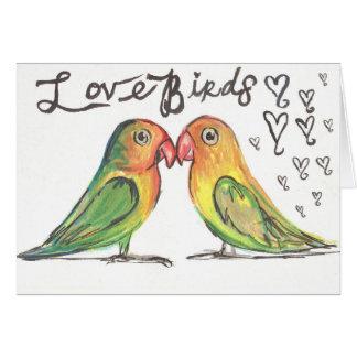 Tarjeta de los LoveBirds de Kissy