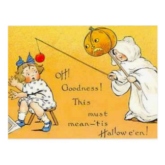 Tarjeta de los niños de Halloween del vintage del  Tarjeta Postal