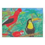 Tarjeta de los pájaros de la selva tropical