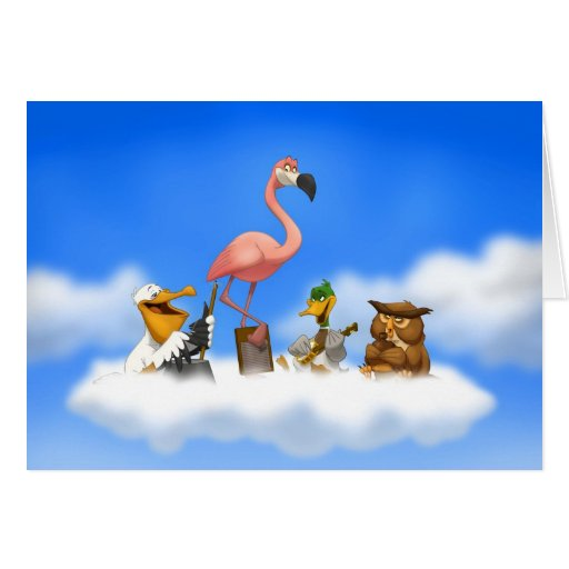 Tarjeta de los pájaros de O de la banda de jarro (