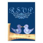 Tarjeta de los pájaros del amor R.S.V.P (azul) Invitación 8,9 X 12,7 Cm