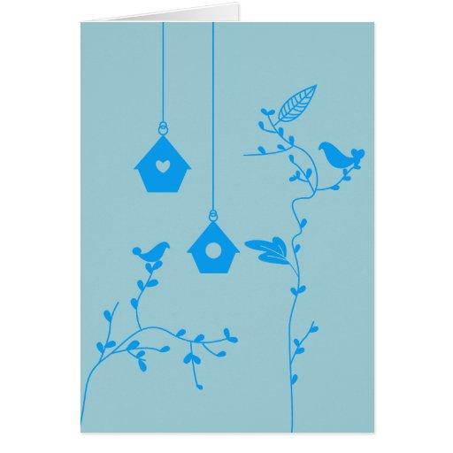 Tarjeta de los pájaros y de las cajas de pájaro