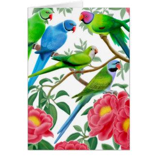 Tarjeta de los Parakeets y de los Peonies