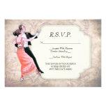 tarjeta de los pares R.S.V.P. del baile del vintag Invitación Personalizada
