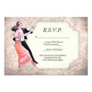 tarjeta de los pares R S V P del baile del vintag Invitación Personalizada