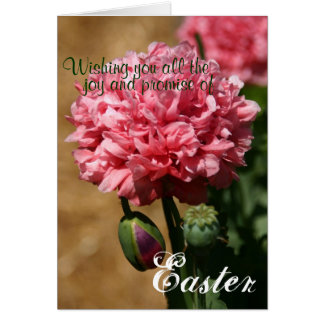 Tarjeta de los peonies de Pascua