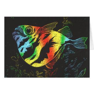 Tarjeta de los pescados de arco iris - formato hor
