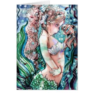 Tarjeta de los pescados de little mermaid y del pa