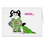 Tarjeta de los pijamas del gato del día de madre