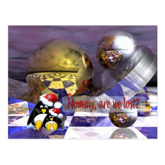 tarjeta de los pingüinos de la fantasía postal