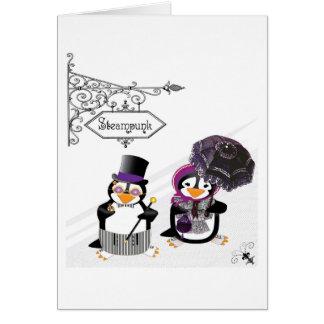 Tarjeta de los pingüinos de Steampunk