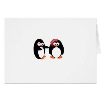 Tarjeta de los pingüinos del zombi