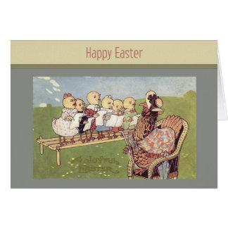 Tarjeta de los polluelos del bebé de Pascua del vi