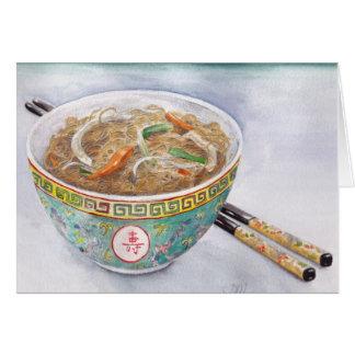 Tarjeta de los tallarines de la salsa de soja