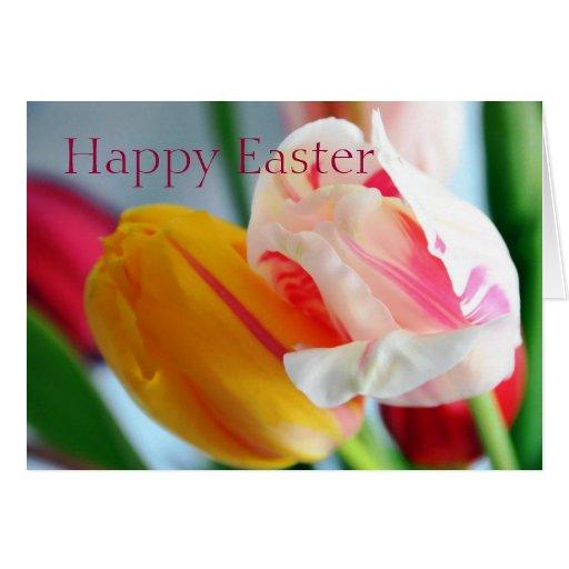 Tarjeta de los tulipanes de Pascua