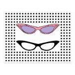 Tarjeta de los vidrios del ojo de 1950 gatos de la tarjeta postal