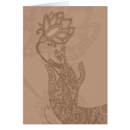 Tarjeta de Lotus Mudra Mehndi (espacio en blanco p