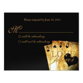 Tarjeta de lujo de la respuesta de Las Vegas RSVP Invitación 10,8 X 13,9 Cm