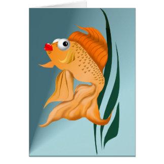 Tarjeta de lujo de los pescados del oro