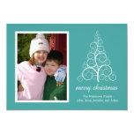 Tarjeta de lujo del árbol de navidad (aguamarina) invitación 12,7 x 17,8 cm