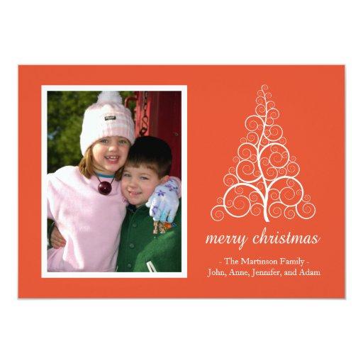 Tarjeta de lujo del árbol de navidad (naranja) invitación 12,7 x 17,8 cm