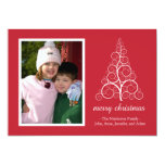 Tarjeta de lujo del árbol de navidad (roja) invitación 12,7 x 17,8 cm