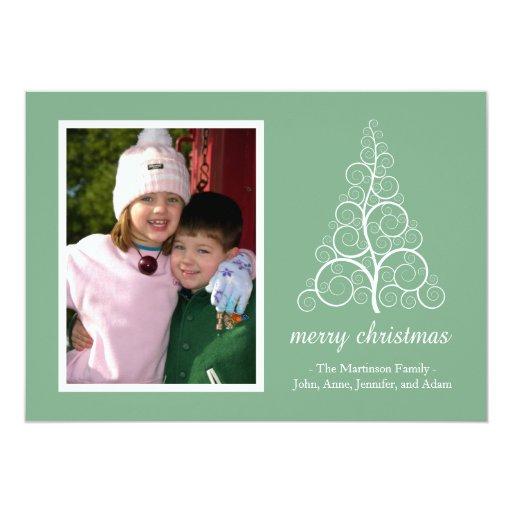 Tarjeta de lujo del árbol de navidad (verde menta) invitación 12,7 x 17,8 cm