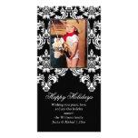 Tarjeta de lujo del día de fiesta del damasco tarjetas personales con fotos