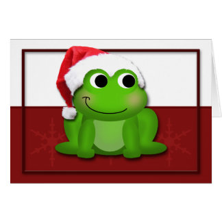 Tarjeta de lúpulo del Froggy del gorra de Santa de