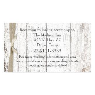 Tarjeta de madera blanca rústica del recinto del b tarjetas de visita