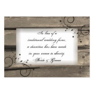 Tarjeta de madera del favor de la caridad del boda tarjetas personales